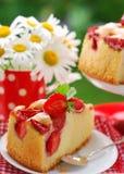 Piece of strawberry cake royalty free stock photo