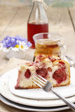Piece of strawberry cake on ceramic plate Stock Photos