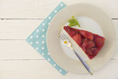 A piece of strawberry cake Royalty Free Stock Photo