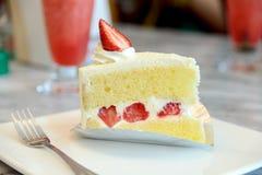 Piece of strawberry cake Royalty Free Stock Image