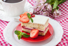 Piece of  strawberry cake Stock Photography