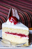 Piece of strawberry cake Royalty Free Stock Photography