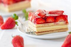 Piece of Strawberry Cake on a white plate