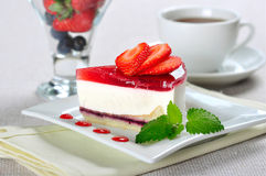 Piece of strawberry cheesecake Royalty Free Stock Photography