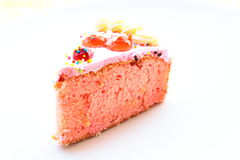 A piece of strawberry flavor cake Royalty Free Stock Images
