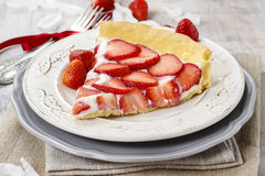 Piece of strawberry tart. Festive and party dessert Royalty Free Stock Photo