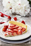 Piece of strawberry tart. Festive and party dessert Royalty Free Stock Photography
