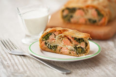 Piece  strudel with fish and spinach Royalty Free Stock Images