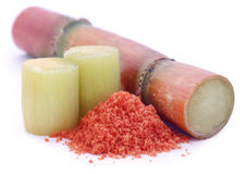 Piece of sugarcane with red sugar Stock Photography