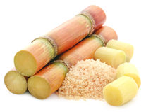 Piece of sugarcane with red sugar Royalty Free Stock Images