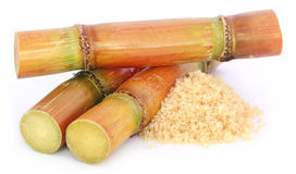 Piece of sugarcane with sugar Royalty Free Stock Photo