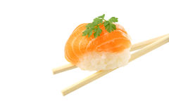 Piece of sushi (salmon and rice) Stock Image
