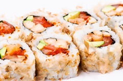 Piece sushi set with avocado, fish and red caviar Stock Photography