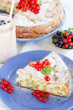 Piece of sweet cake with red currants Royalty Free Stock Photos
