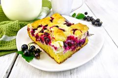 Pie with black currant in plate on light board Stock Photos