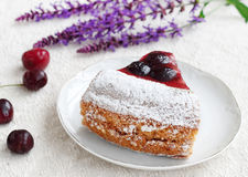 Piece of tart with cherries Royalty Free Stock Image