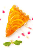 Piece of tart with persimmons Royalty Free Stock Image