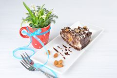 Piece of tasty chocolate cake with black chocolate sauce Royalty Free Stock Image