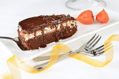 Piece of tasty chocolate cake Royalty Free Stock Images