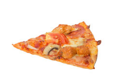 Piece of tasty flavorful pizza isolated on white Stock Photos
