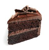 Piece of tasty homemade chocolate cake. On white background royalty free stock photo