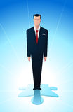 Piece of teh puzzle. Business man standing on the final piece of a financial puzzle Stock Images