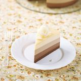 Piece of Three Chocolate Mousse Cake Stock Images