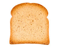 Piece of toast isolated on white. Close-up Stock Images