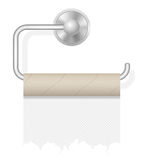 Piece toilet paper on holder vector illustration Stock Photos