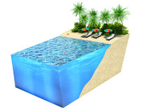 Piece of tropical island with water and palms. holiday concept Stock Images