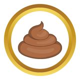 Piece of turd vector icon. In golden circle, cartoon style isolated on white background Stock Photography
