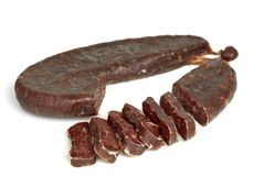 Piece of turkic summer sausage (Sucuk) Royalty Free Stock Image