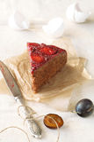Piece of Upside-Down Plum Cake Stock Photography
