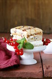 Piece of vanilla cake decorated caramel sauce Royalty Free Stock Image