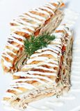 Piece of vegetable pie with meat Royalty Free Stock Photos