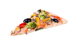 A piece of vegetable pizza. On a white background Stock Image