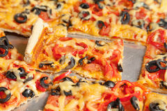 Piece of vegetarian pizza Royalty Free Stock Images