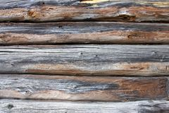 Piece a wall in old house made of logs. Wood Stock Photography