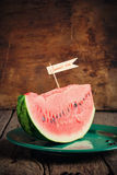 Piece of a water-melon on plate Royalty Free Stock Photo