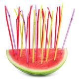 A piece of watermelon with drinking straws of different colors Royalty Free Stock Images