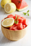 Piece of watermelon and lemon Royalty Free Stock Photo