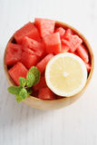 Piece of watermelon and lemon Royalty Free Stock Photography