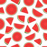 Piece watermelon pattern. Seamless watermelons transparent pattern. Vector background with water melon slices. Piece watermelon pattern. Seamless watermelons vector illustration