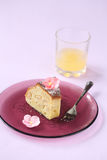 Piece of White Chocolate Pear Cake Stock Photography