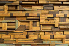 Piece of wood made to abstract interior wall decoration block background Royalty Free Stock Photos
