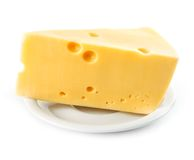 Piece of yellow cheese isolated on white Royalty Free Stock Photo
