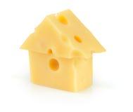 Piece of yellow porous cheese Royalty Free Stock Photos