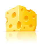 Piece of yellow porous cheese food with holes Stock Image