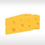 Piece of yellow porous cheese with holes Stock Photos