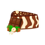 Piece of zebra cake with nuts and chocolate bar. Vector sliced portion  sponge striped  decorated   cream  crushed. Piece of zebra cake with nuts and chocolate Royalty Free Stock Photography